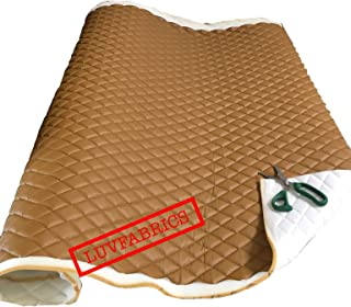 LUVFABRICS Desert Faux Leather Quilted Vinyl Fabric with 3/8