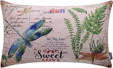 TRENDIN 20 X 12 Vintage Dragonfly Flying Sweet Love Linen Throw Waist Pillow Case Cushion Cover Sofa Decor (PL082TR)