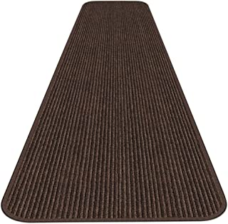 House, Home and More Indoor Outdoor Double-Ribbed Carpet Runner with Skid-Resistant Rubber Backing - Bittersweet Brown - 4...