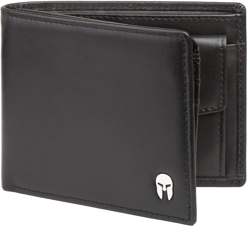 Spartano, porta carte di credito, portafoglio da uomo, in vera pelle, con protezione rfid ZEUS_BLACK