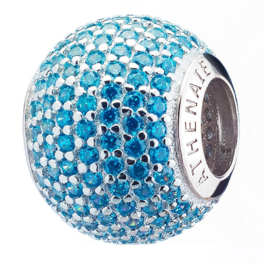 ATHENAIE?925?Silver?Plated?Platinum?with?Pave?Blue?CZ Ocean Love Charm Beads