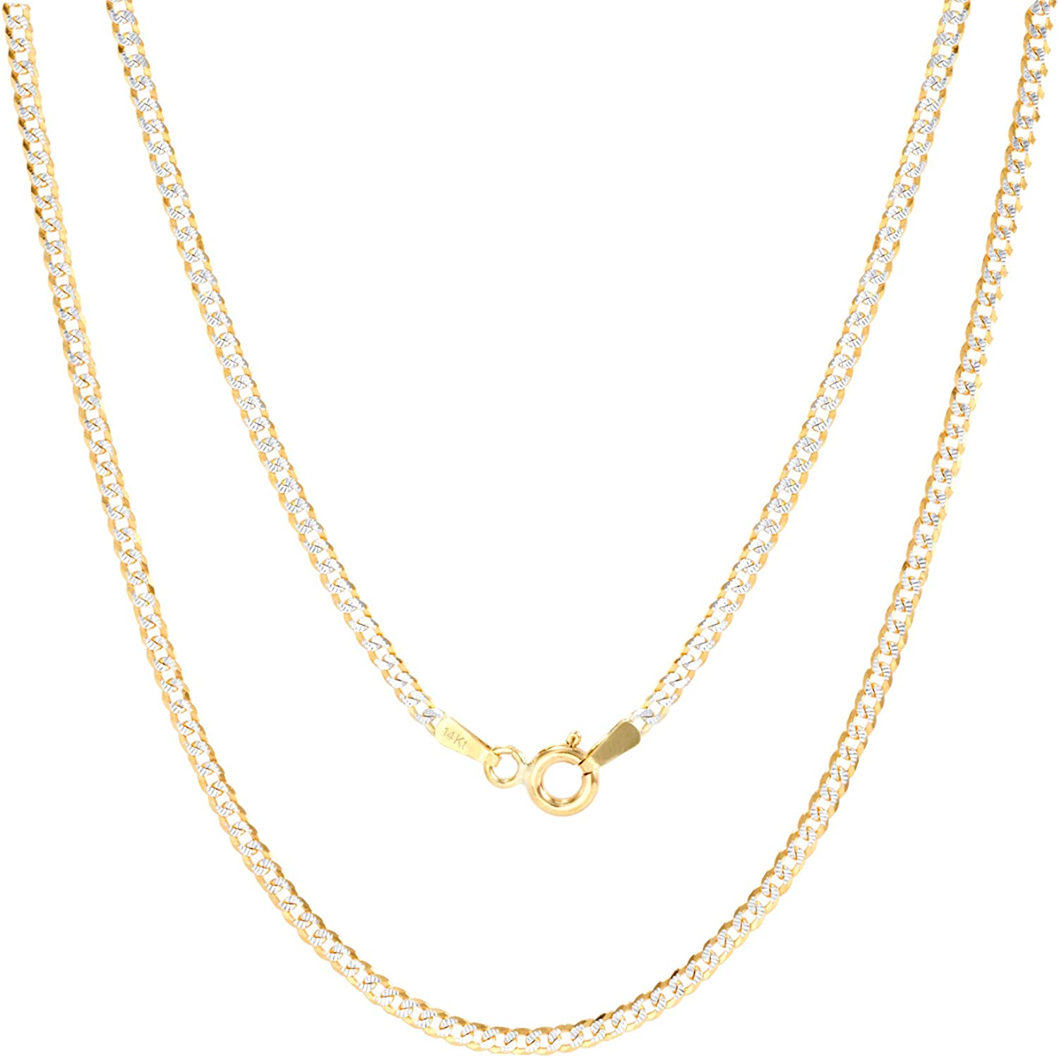 Nuragold 14k Yellow Gold Solid 2mm Cuban Chain Curb Link Diamond Cut Pave Two Tone Pendant Necklace Lobster Lock 16