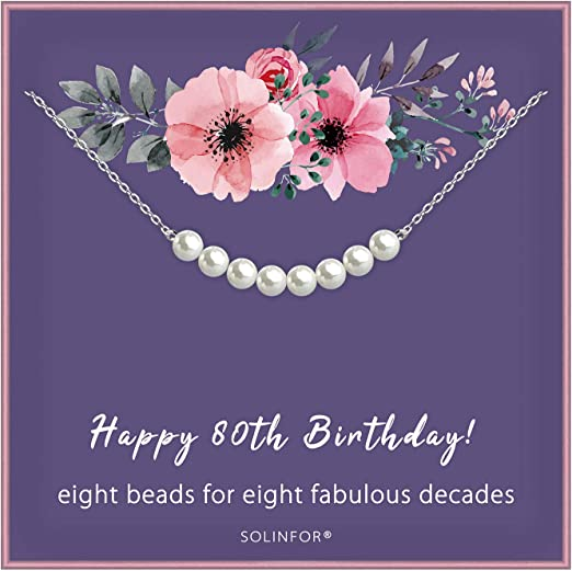 80th Birthday Gifts for Women - Sterling Silver Necklace Eight Pearls for Her 8 Decades