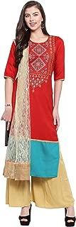 Aujjessa Women's Polyester Kurta with Palazzo Pant Dupatta Set (Red)