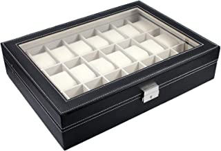 FOCUS EPARTS174; 24 Slot Black Leather Watch Box Jewelry Storage Organizer w/ Glass Top Display