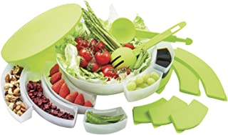 Innovia Imports II-176 Set Salad Container, serving platter White and Green