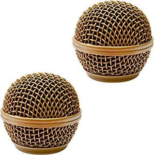 Seismic Audio - SA-M30Grille-Gold-2Pack - 2 Pack of Replacement Gold Steel Mesh Microphone Grill Heads - Compatible with SA-M30, Shure SM58, Shure SV100 and Similar