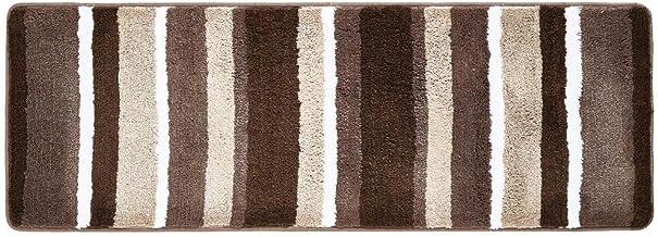 mDesign Striped Microfiber Polyester Rug, Non-Slip Spa Mat/Runner, Polyester, Chocolate, Pack of 1