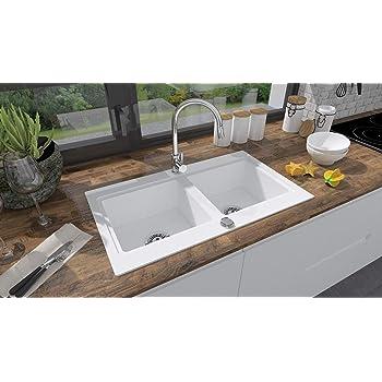 gris Brenor Nubiru rectangulaire en granit /évier de cuisine double Bol de lavabo avec bonde de vidage taille 79,5/x 45,5/cm
