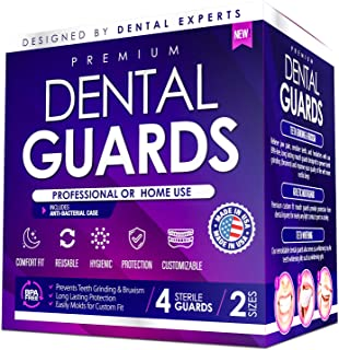 Professional Dental Mouth Guards - Custom Bite & Comfort Fit Relief for Teeth Grinding TMJ Bruxism Clenching. Heavy Duty BPA Free Trimmable Night Mouth Guards - Whitening Tray Case - 4-Pack, 2-Sizes
