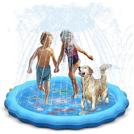 """QPAU Splash Pad, 68"""" Sprinkler for Kids Dogs, Kiddie Baby Shallow Pool,Outside Toys Water Toys for Kids, Outdoor Toys for Toddlers Age 3-5 (Blue)"""