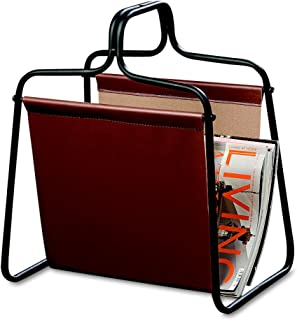 WHW Whole House Worlds Chelsea Magazine Holder Rack, Open Black Metal Frame, Brown Faux Leather Sling, Over 1 Ft Tall, (13 1/2 L x 9 3/4 W x 15 3/4 H Inches)