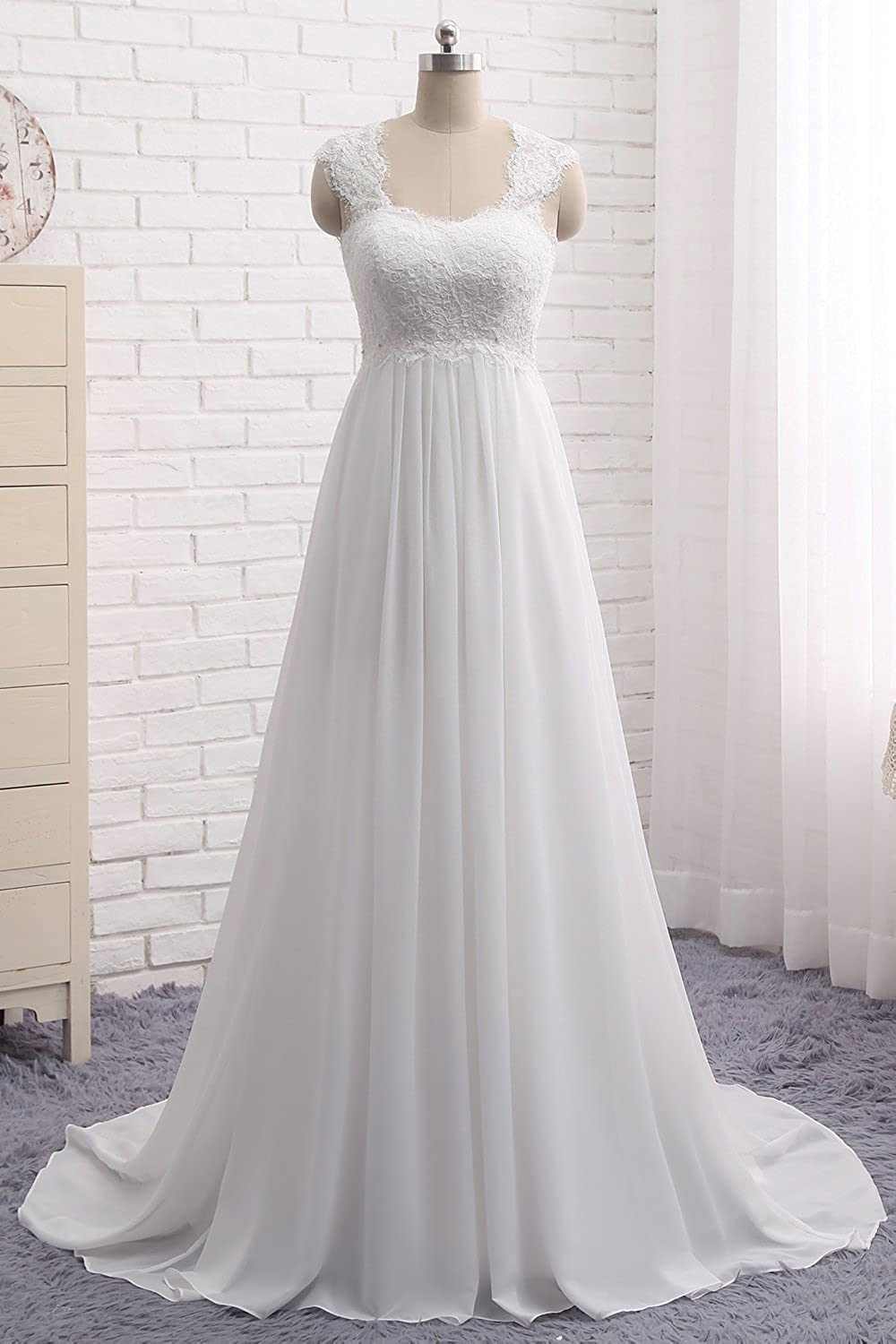 Wedding Dresses for Bride 2021 Sleeveless Lace Petite/Plus Size Bridal Gowns for Civil Wedding for Beach Wedding