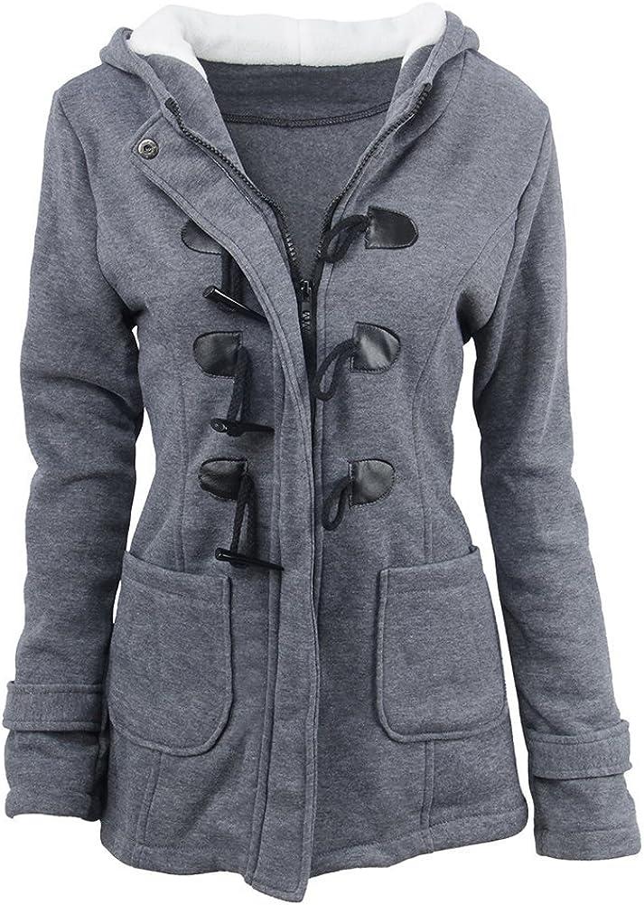 OMUUTR Damen Jacke Winterjacke Trenchcoat Outwear Mit Kapuze Winterparka Winter Mantel Baumwoll Wollmantel Warme Sweaters Kapuzenjacke Kapuzenpullover S-6XL Dunkelgrau