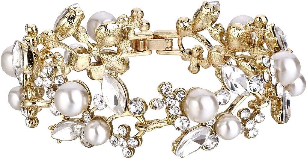 Ranking TOP13 EVER FAITH Austrian Crystal White Denver Mall Bridal Simulated Floral Pearl