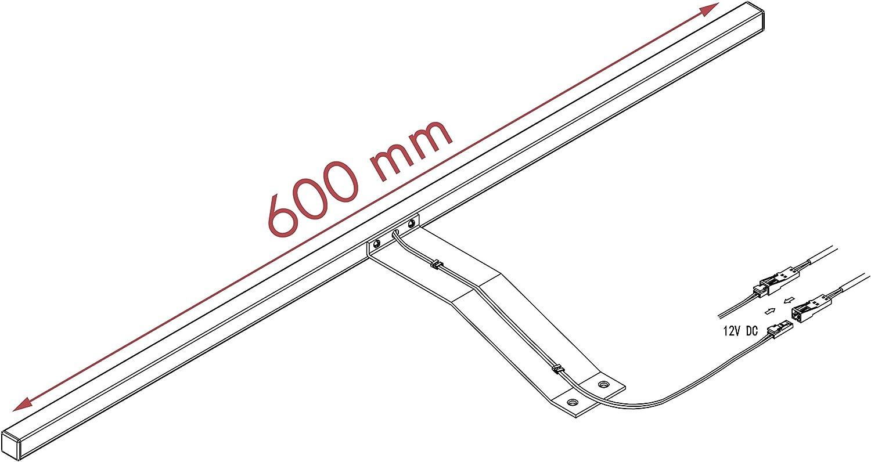 LED Kleiderschrankleuchte Aufbauleuchte Schrankbeleuchtung 1-4er SET chrom/silbergrau 600mm, Auswahl:2er Set warmweiss, Oberfläche:silbergrau 3er Set Warmweiss Chrom