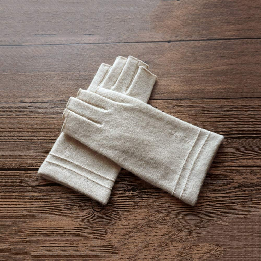 Rebily Autumn and Winter Ladies Gloves Fingerless Wool Leisure Keep Warm Cold Protection Touch Screen One Size Finger Glove