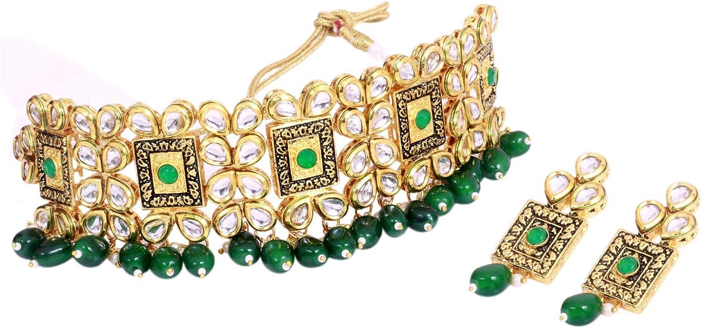 SANARA Indian Bollywood Gold Plated Green Pearl Kundan Choker Necklace Earrings Set Women Jewelry
