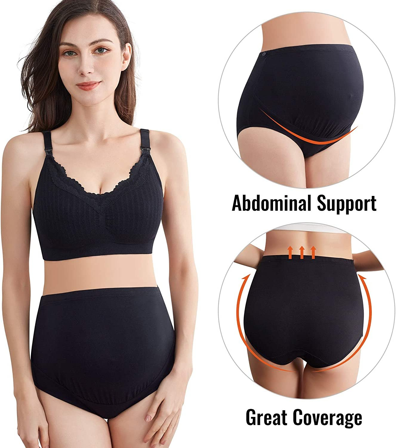 S-4XL Mama Cotton Womens Over The Bump Maternity Underwear High Waist Maternity Panties 5 Pack
