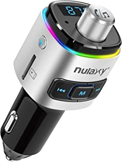 Nulaxy Bluetooth FM Transmitter for Car, 7 Color LED Backlit Bluetooth Car Adapter with QC3.0 Charging, Support Siri Google Assistant, USB Flash Drive, microSD Card, Handsfree Car Kit (A- Silver)
