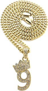 Fashion 21 Pave Crown Tilted 0,1,2,3,4,5,6,7,8,9 Number Pendant 24