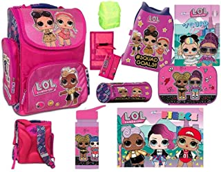 L.O.L. LOL Surprise Mädchen Schulranzen Set 9 teilig - Pink/Lila/Violet mit Turnbeutel, Schlampermäppchen, Geldbörse, Brot...