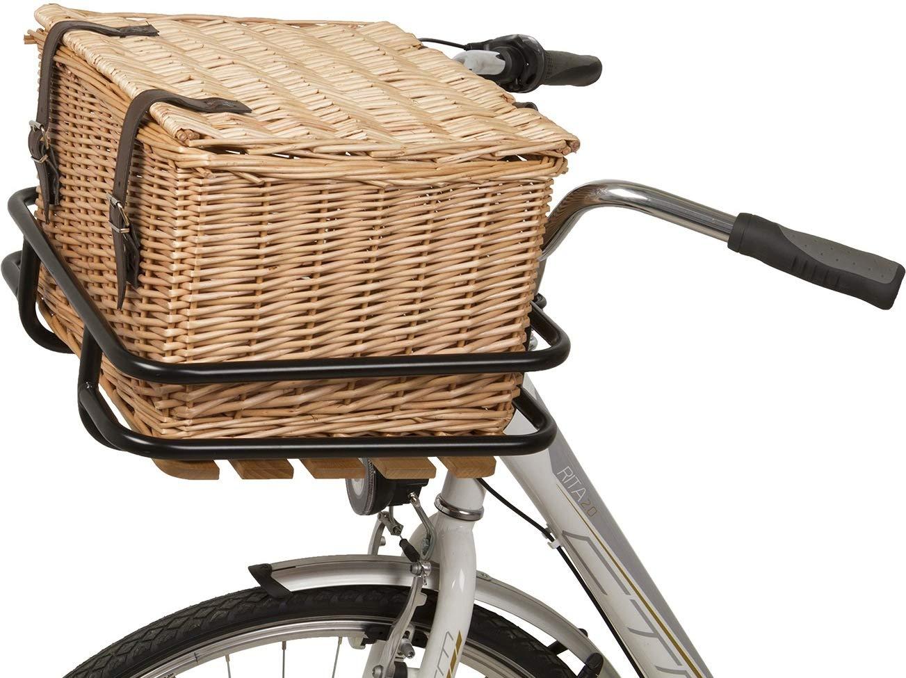 P4B - Cesta para bicicleta de mimbre auténtico, hecha a mano ...