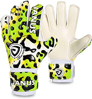 Coodoo Goalie Goalkeeper Gloves with Fingersaves Give Splendid Protection to Prevent Injuries, 3.5mm Strong Grip German Latex, Double Rip-Tab Strap, Size 4-7 - for, Kids, Youth