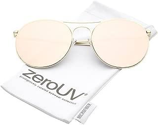 Oversize Metal Double Nose Bridge Round Color Mirrored Flat Lens Aviator Sunglasses 65mm