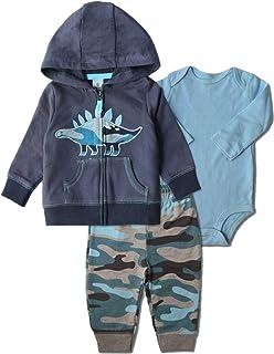 Baby Boy Clothes Hooded Jacket Bodysuit Pant Set 3PCS...