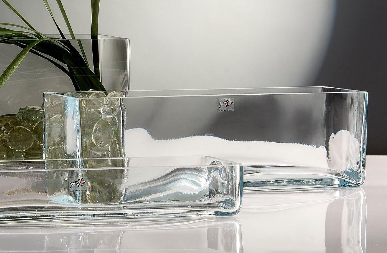 Glasvase Vase Glas Blaumenvase Tischvase Glasschale groß rechteckig, rechteckig, rechteckig, 40x12 B0062LUJQ6 d9e4c7
