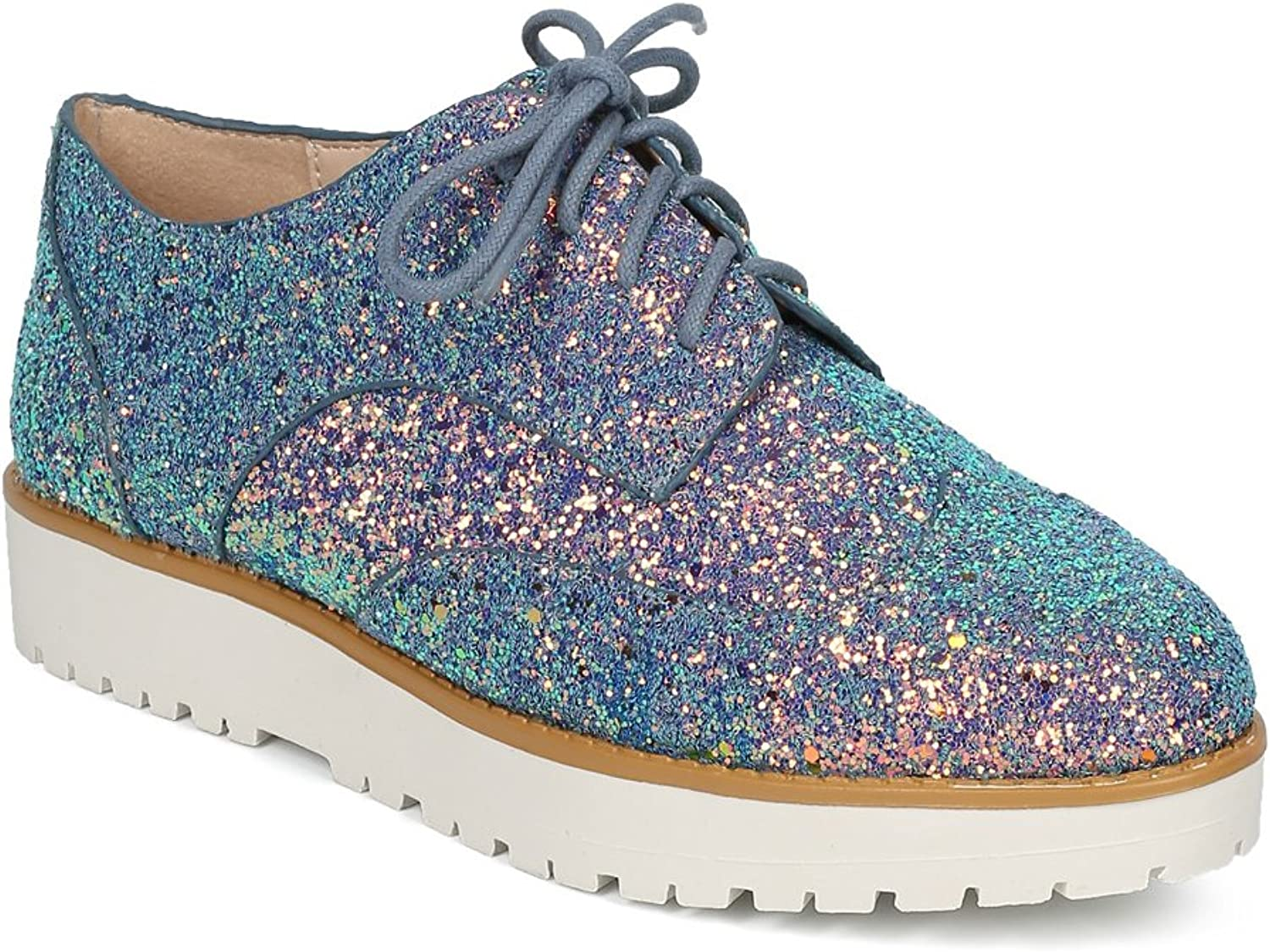 Alrisco Glitter Encrusted Lace Up Flatform Spectator Loafer HC97