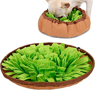 Petneces ペットおまちゃ 犬ノーズワーク 鼻づまり 餌マット 嗅覚活用 遊び場所 訓練毛布 集中力向上 性格改善 運動不足/ストレス解消 分離不安/食いちぎる対策 カラフル (円形, グリーン)