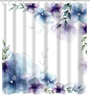 BROSHAN Watercolor Flower Bath Decor Shower Curtain,Spring Retro Purple and Blue Flower Elegant Nature Art Print Bath Curtain,Polyester Waterproof Fabric Bathroom Accessories with Hooks,72x72 Inch
