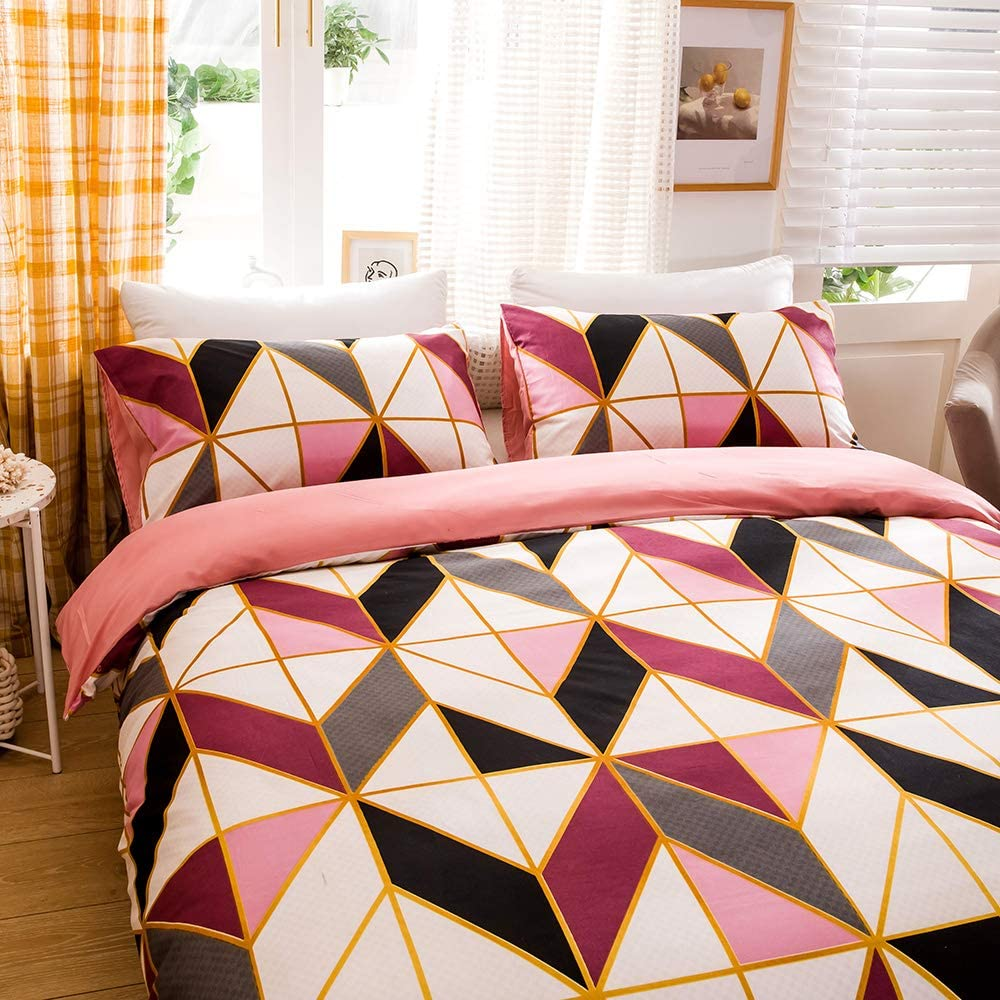 3pc Include 1 Gird Geometric Checker Pattern Printed Duvet Cover Zipper Closure and 2 Pillowcase 90x90 Inch Bedding Set for Men and Women QYsong Grey and White Plaid Duvet Cover Queen