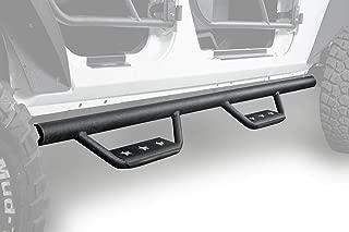 Hooke Road 07-18 Jeep JK Wrangler Running Boards Wide Drop Side Steps Solid Steel 4-Door Nerf Bars (Sold as Pair)