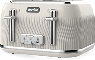 Breville VKT891 Flow 4-Slice Toaster with High-Lift and Wide Slots, Mushroom Cream