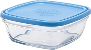 Duralex Made In France Lys Square Bowl with Lid, 36-Ounce