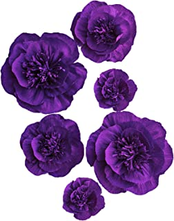 Letjolt Paper Flower Decorations Crepe Paper Peony for Homecoming Dance Backdrop Wedding Party Decorations Baby Shower Bridal Shower Nursery Wall Decor(Purple Set 6)