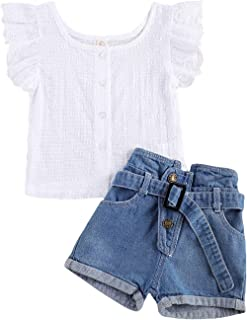 Infant Baby Girls Outfit, White Fly Sleeve Button Down T-Shirt and Denim Shorts with Belt Clothing Set