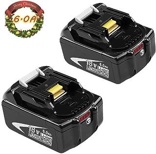 2 Pack Upgraded 6000mAh Replacement for Makita 18V Battery Lithium BL1860B BL1850B BL1860 BL1840 BL1830B BL1815 194204-5 Cordless Power Tool