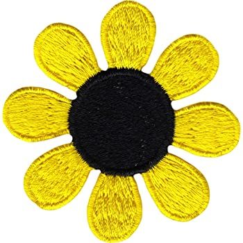 Daisy Flower - Yellow with Black Center - Embroidered Sew or Iron on Patch