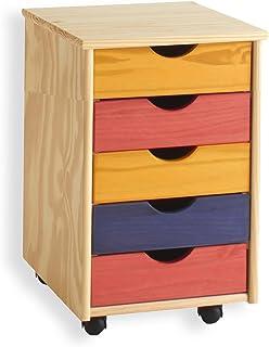 IDIMEX Caisson de Bureau Lagos Meuble de Rangement sur roulettes avec 5 tiroirs, en pin Massif lasuré Multicolore Jaune Ro...