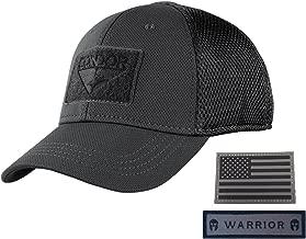 Condor Flex Mesh Cap, Black + Flag & Warrior Patch, Fitted Tactical Operator Hat