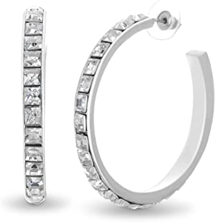 Steve Madden 48mm Square Rhinestone Design Open Hoop Earrings For Women