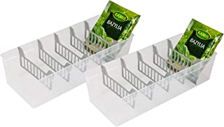 BranQ - Home essential Lot de 2 boîtes à épices en plastique polypropylène transparent sans BPA 30,7 x 11,3 x 8 cm