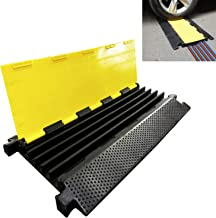 Reliancer 5 Channel Rubber Cable Protector Ramp Traffic Speed Bump 18000lbs Capacity Heavy Duty Cable Protective Cover Ramp Driveway Hose Cord Track Protector Wires Concealer w/Flip-Open Top Cover