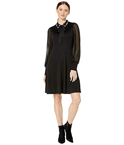CeCe Long Sleeve Mix Media Sweater Dress with Embroidered Collar (Rich Black) Women