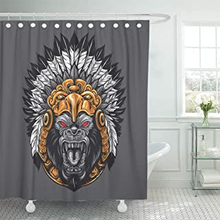 Emvency Shower Curtain White Mayan Angry Gorilla Wearing Aztec Headdress Eagle Shower Curtains Sets with Hooks 60 x 72 Inches Waterproof Polyester Fabric