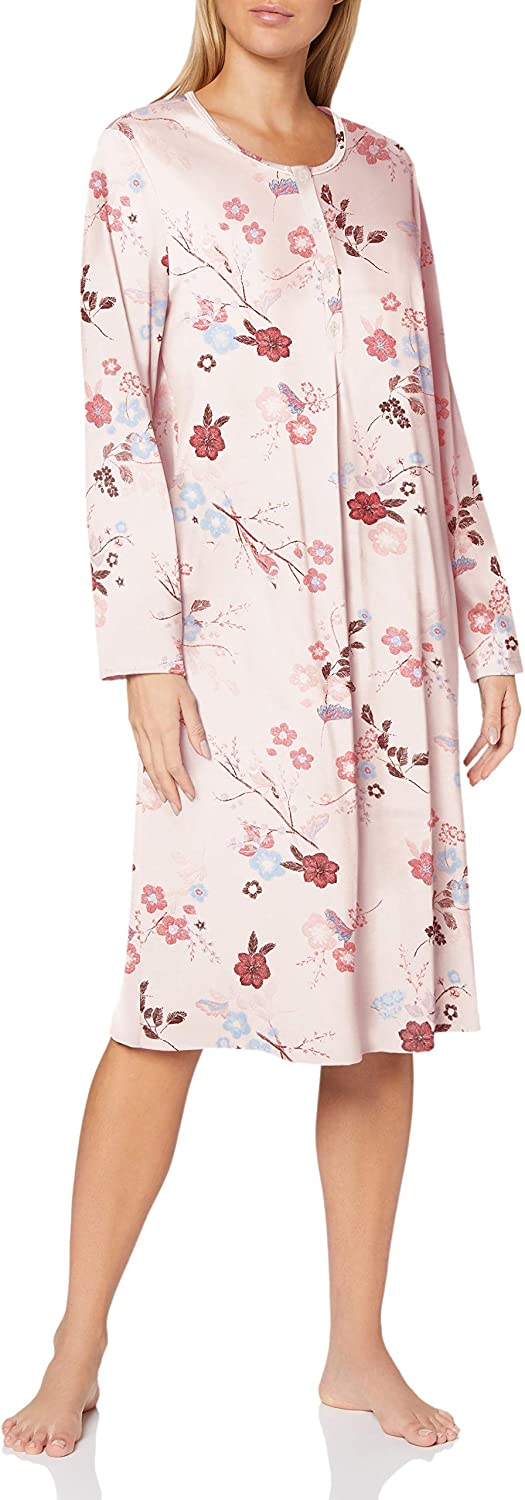 Calida Long Sleeve Cotton Cosy Nights 信頼 Knit Cha in Nightgown 国内正規総代理店アイテム Pink